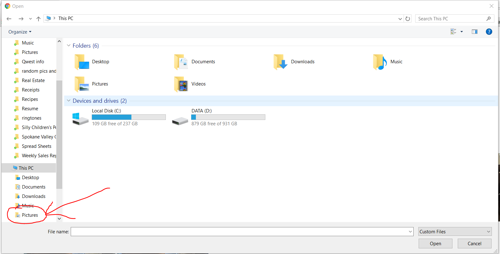 File Explorer Pictures