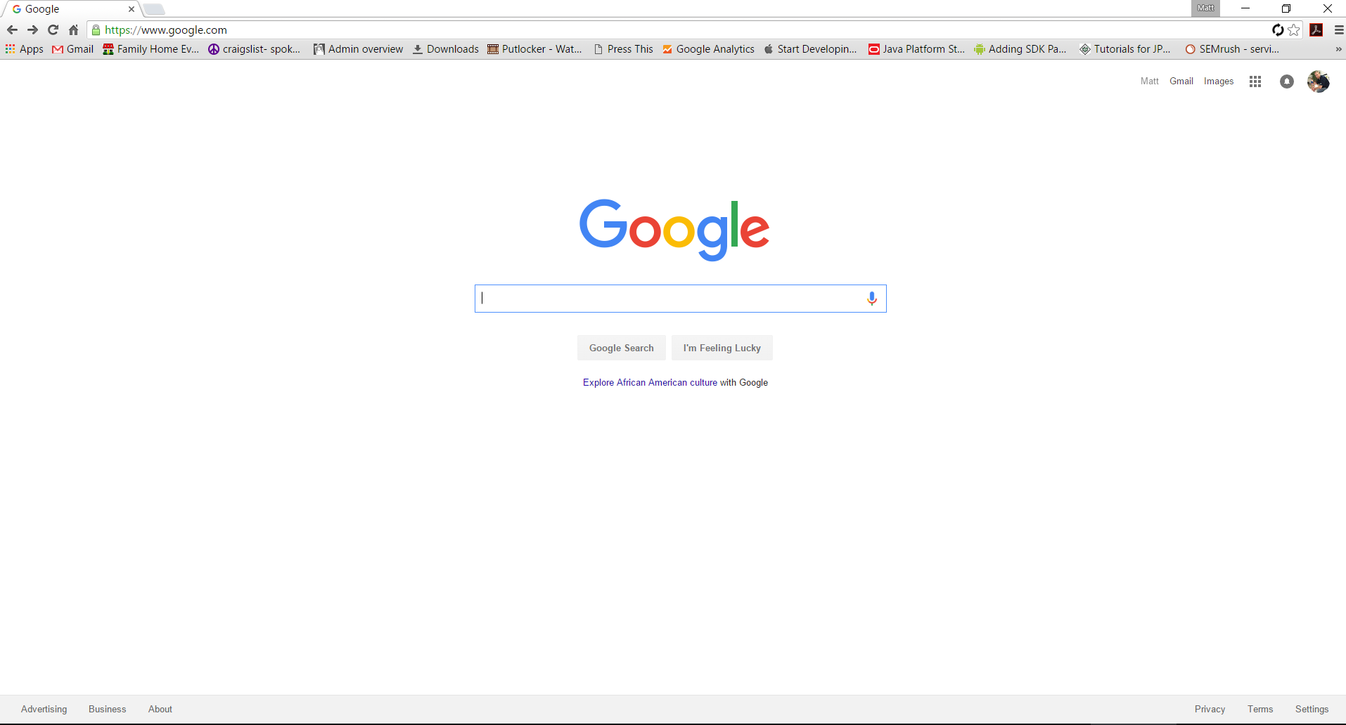 Google home page (logged in)